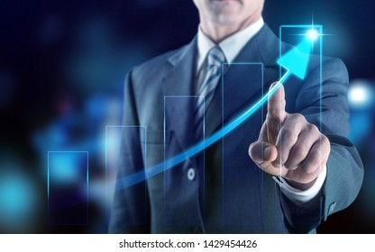 Business development to success and growing growth year 2019 concept, Businessman pointing line dot graph corporate future growth plan          - Image