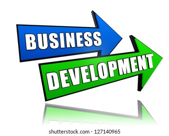 business development - text in 3d arrows, growth concept