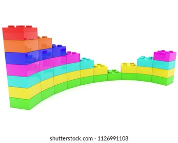 Business diagram built from toy bricks on white.3d illustration