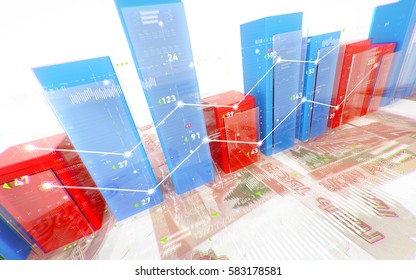 Business diagram and charts with 5000 rubles banknotes isolated on white background. Financial abstract report background with russian money. 3d illustration.