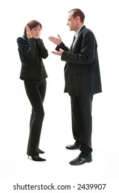 business discussion man and woman