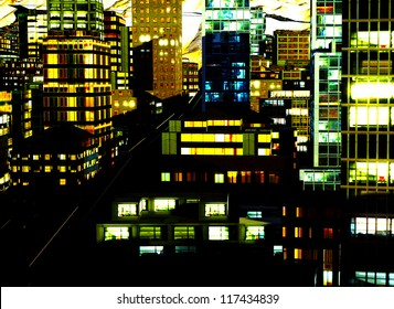 Business District in city at Night