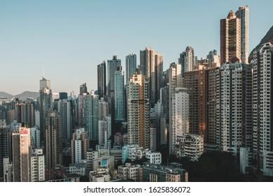 business district of Hong Kong city, modern  skyscraper buildings  and skyline of HongKong