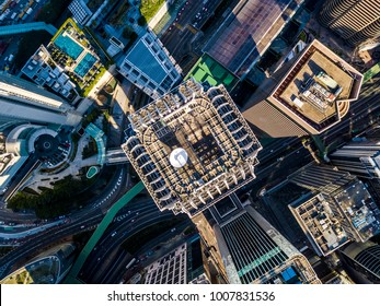 Business District of Hong Kong from drone view