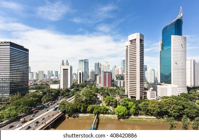 The business district of Jakarta along Jalan Sudirman, one of the city main avenue, is line with many banks HQ and other office towers. Jakarta is Indonesia capital city.