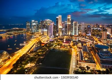 Business district modern building at dusk, Singapore city skyline