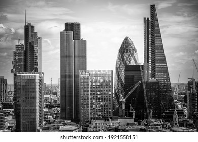 Business district and skyscrapers in London