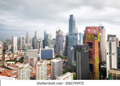 Business district and urban skyscrapers in Singapore