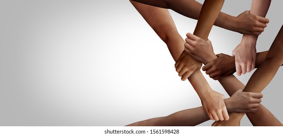 Business diversity and teamwork as a group of diverse people holding arms as a multiracial society and multicultural community joined and united team building as a together and togetherness concept. - Shutterstock ID 1561598428