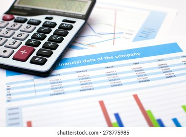 Business document. Calculator. Financial data of the company