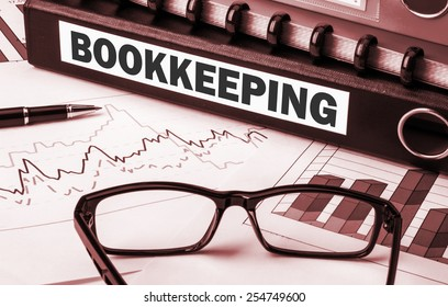 business document folder with label bookkeeping