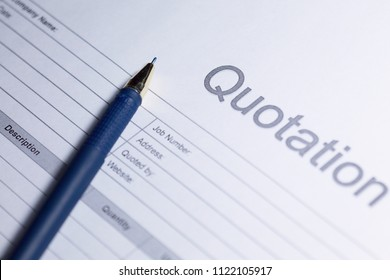 Business document - Quotation. Paper for sign. Quotation on white background