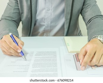 Business documents on the office desk, creative thinking.select focus.