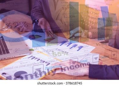 business documents on office table and graph business with social network diagram and man working in the background. double exposure effect