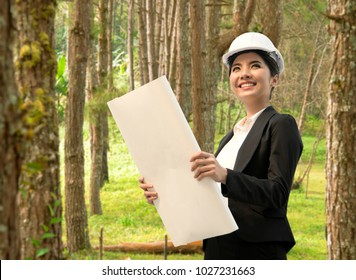 business eco engineer hand holding construction drawing. concept environment planning for engineering.