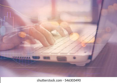 Business economic and technology working concept. Woman hand using notebook double exposure graph money stock trading and blur people bokeh light background. Vintage tone filter effect color style.