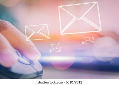 Business economic technology and working connect concept. Close up woman hand using notebook double exposure email fly draw graphic colorful bokeh background. Vintage tone filter effect color style.