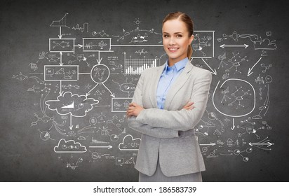 business and education concept - friendly young smiling businesswoman with crossed arms