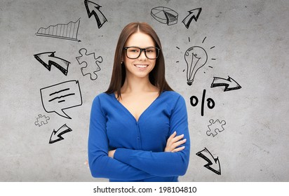 business and education concept - smiling businesswoman, teacher or student in glasses