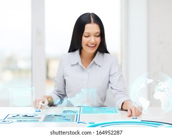 business, education and new technology concept - smiling woman pressing button on virtual screen