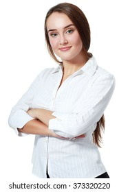 business, education and office concept - smiling businesswoman standing