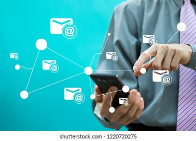 Business email Marketing concept on smartphone.