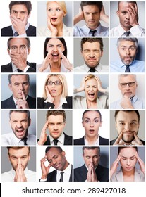 Business emotions. Collage of diverse multi-ethnic business people expressing different emotions