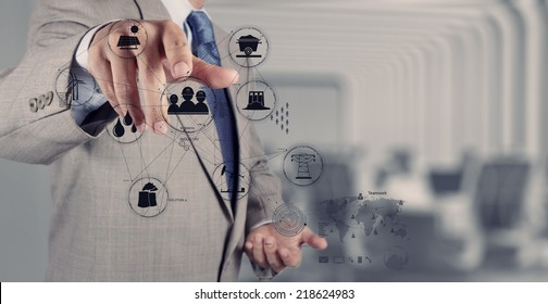 business engineer hand works industry diagram on virtual computer as industry concept