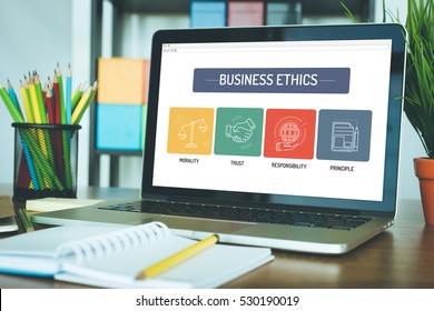 BUSINESS ETHICS ICON CONCEPT ON LAPTOP SCREEN