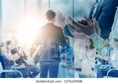 Business Event Congratulated the success of the organization. The winner victory people teamwork. .The organization of conferences, event ,seminars, asian,brainstorming. Double Exposure Effect.