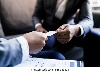 Exchanging business cards images stock photos vectors shutterstock business executive exchanging business card colourmoves