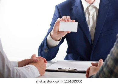business executive exchanging business card blank