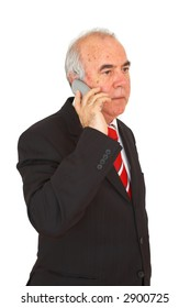 business executive talking with telephone, on white