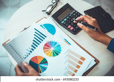 Business expert working on investment analysis data