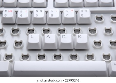 "Business failing: ""lack"" word on computer keyboard"