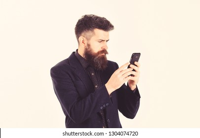 Business failure concept. Bearded man has bad news about his failure.