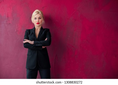 Business fashionable style for ladies. Clothes and fashion concept. Woman in black suit