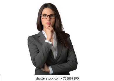 Business female in deep thought and concentration isolated on white background