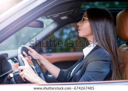 Business Female Suit Driving Luxury Car Stock Photo Edit Now