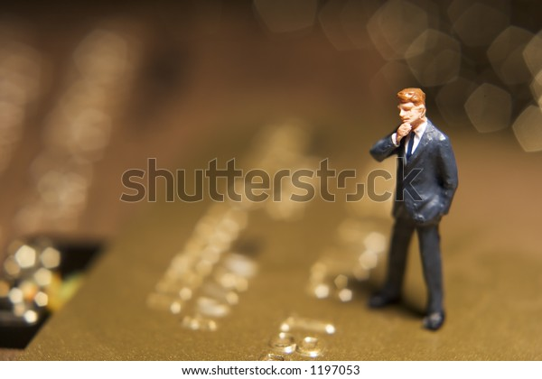 Business figures and credit card