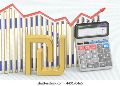 Business finance, banking and accounting chart with symbol of Israel shekel and calculator. 3D rendering