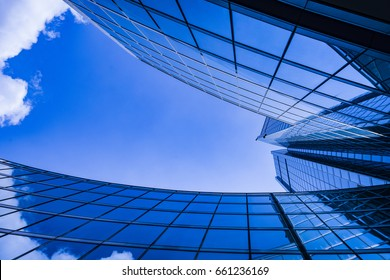 Business and finance centerwith skyscrapers in blue tones