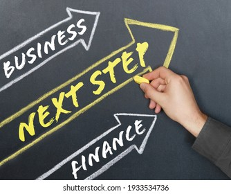 Business and finance concept. Arrows are drawn on the board, inside which there are inscriptions - Business, Finance, NEXT STEP