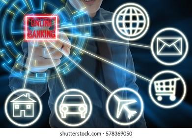 Business and finance concept. High-tech digital screen button.