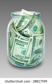 business and finance concept. money in the jar isolated on white