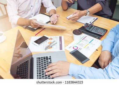 Business and finance concept of office working,Teamwork of Businessmen discussing business investment plan in office