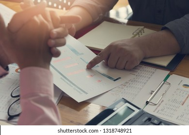 Business and finance concept of office working,Teamwork of Businessmen discussing investment business plan in office