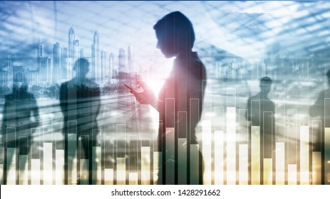Business and finance graph on blurred background. Trading, investment and economics concept.