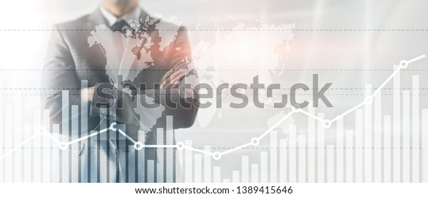 Business finance growth graph chart analysing diagram trading and forex exchange concept double exposure mixed media background website header