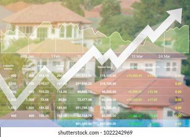 Business finance index data of real estate stock background rising up with high budget investment.